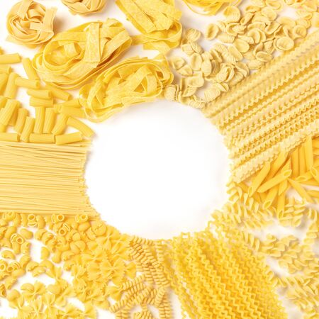 Italian pasta, square flat lay banner with a place for text, top shot on a white background, a design template with copyspace 写真素材