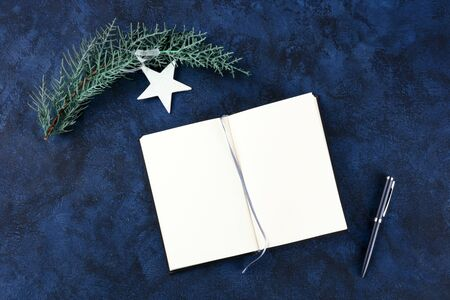 New Years resolutions, bucket list concept. A flat lay top shot with a place for text, on a dark blue background with a pen and a white star