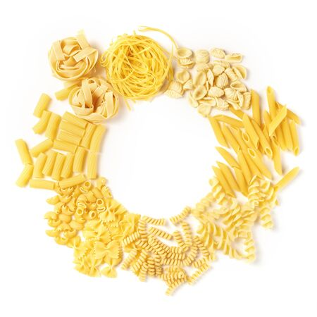 Italian pasta, flatlay banner with copyspace, a top shot of a wreath on a white background, a square design template with a place for text