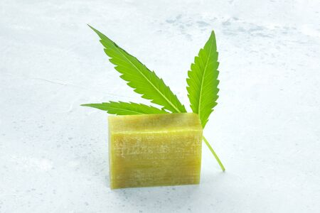 Cannabis soap bar with a cannabis leaf and a place for text