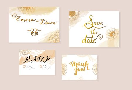 Vector wedding invitation set with Save the Date, RSVP and Thank You cards, suitable for hot foil stamping, with letteting, elegant flower drawings and brush strokes