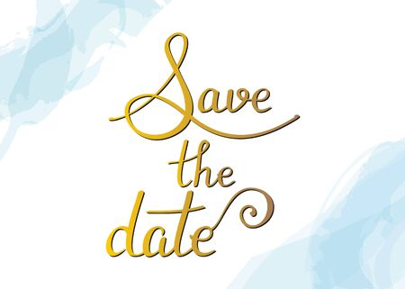 Save the date, vector wedding or birthday invitation card, a design template suitable for hot foil stamping, with elegant lettering and watercolor brushstrokes