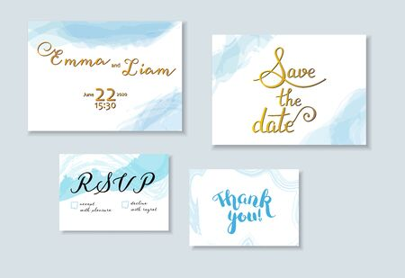 Vector wedding invitation set with Save the Date, RSVP and Thank You cards, suitable for hot foil stamping, with elegant letteting and watercolor brush strokes