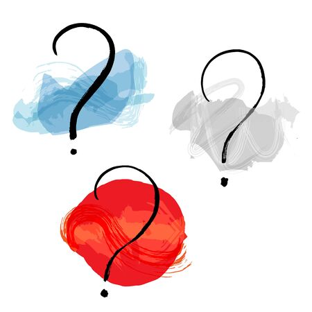 Vector question marks set, hand drawn in ink with watercolor brush strokes, the concept of inquiries, doubts, choice etc