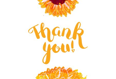 Thank You vector card with watercolor sunflowers and lettering 向量圖像