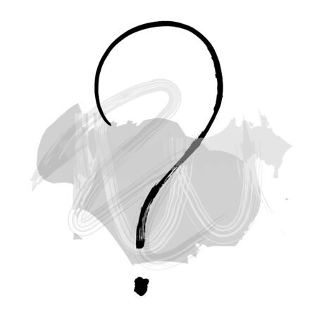 Vector question mark, hand drawn in ink with watercolor brush strokes, the concept of FAQ