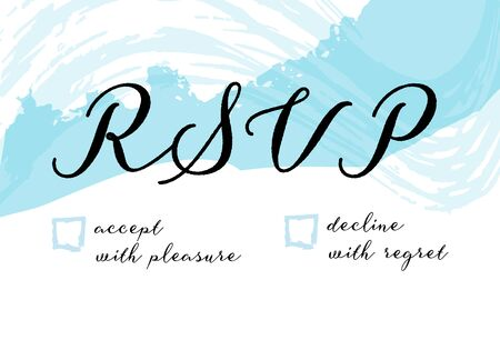 RSVP card for a wedding invitation, a vector design template with watercolor brush strokes 向量圖像