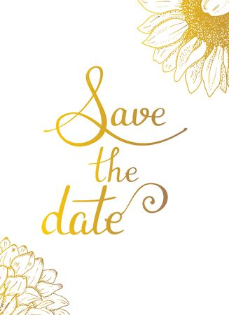 Save the date, vector wedding or birthday invitation card, a design template suitable for hot foil stamping, with lettering and elegant flowers