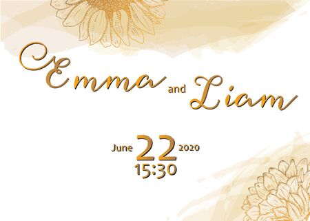 Vector wedding invitation design template with golden flowers, suitable for hot foil stamping, elegant floral frame