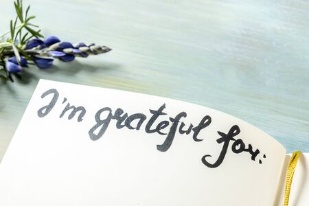 Gratitude journal with a flower, with the handwritten phrase I am grateful for