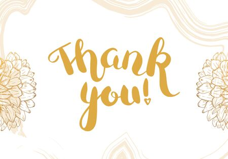 Thank You vector card with flowers and brush strokes, with elegant golden lettering 일러스트