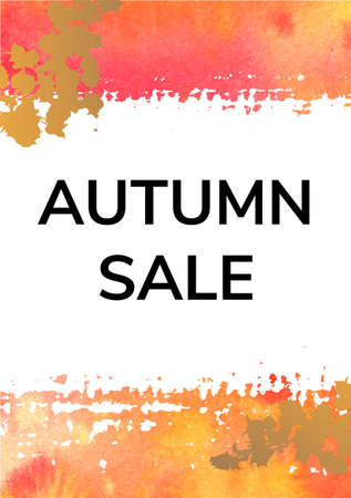 Vector autumn Sale background with watercolor brushstrokes and abstract branches 向量圖像