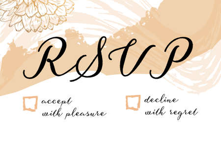 RSVP card for a wedding invitation, a vector design template with flowers and brush strokes