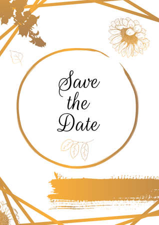 Save the Date, vector wedding invitation design template with golden sunflowers