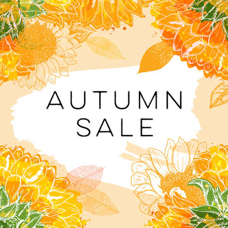 Autumn Sale. Discount banner or flyer design template with vibrant autumn leaves, sunflowers, and a place