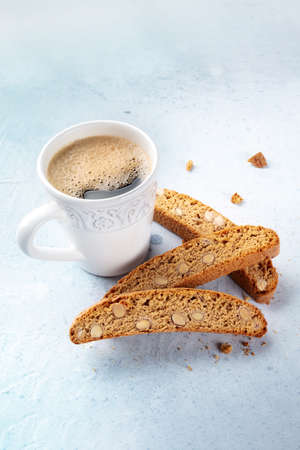 Biscotti. Traditional Italian almond biscuits with coffee