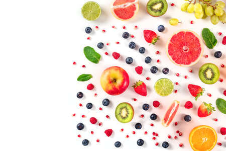 Fresh summer fruit design, a flat lay on a white background