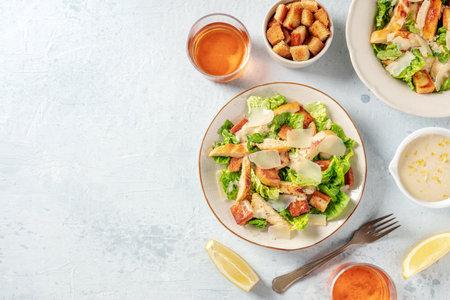 Chicken Caesar salad, shot from the top