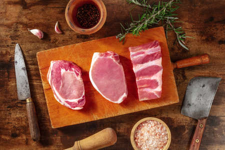 Pork meat, various cuts, shot from the top