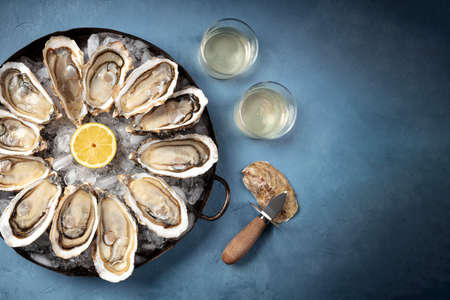 Oysters with wine, an overhead flat lay shot with a place for text 版權商用圖片