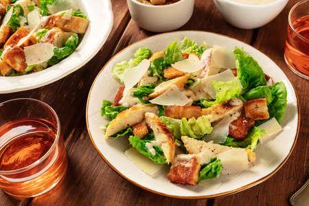 Caesar salad with a wine glass 版權商用圖片