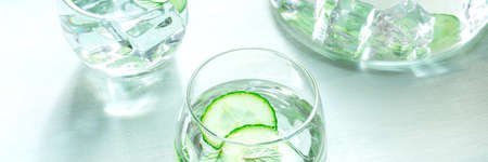 Cucumber and mint drink, infused water panorama