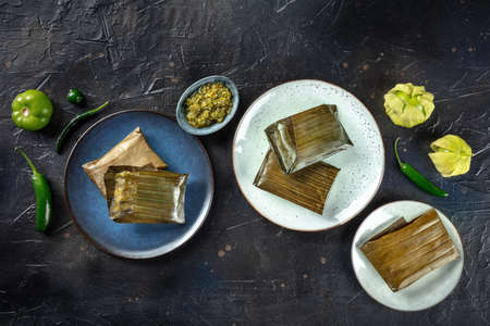 Tamal, traditional dish of Mexican cuisine, various stuffings wrapped in green leaves. Hispanic food. With chili peppers and tomatillos, top shot