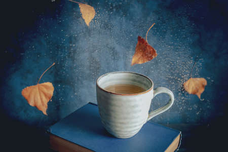 Reading in autumn, a still life with a cup of tea, falling leaves and raindrops, toned image