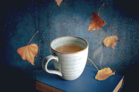 Cosy autumn still life with a cup of tea and books, with autumn leaves and raindrops on the window, toned image