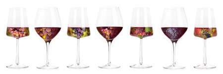 Wine banner. Vineyard in a glass collage, isolated on a white background. Red wine grapes
