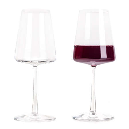 Red wine power glass, empty and full, isolated on a white background. Trendy modern wineglass, a set for design