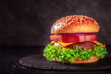 Beef burger on a dark background with copy space. Meat, vegetables, cheese, and a sesame bun
