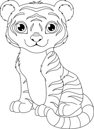 Tiger Färbung Seite Lizenzfrei Nutzbare Vektorgrafiken, Clip Arts ...