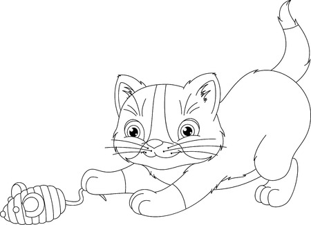 playful: Playful Kitten Coloring Page Illustration
