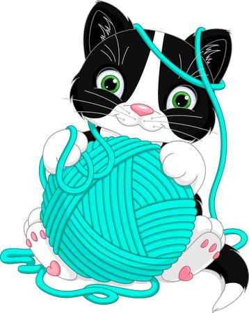 Kitten with yarn ball