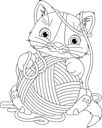 hank: Kitten with yarn ball Coloring Page
