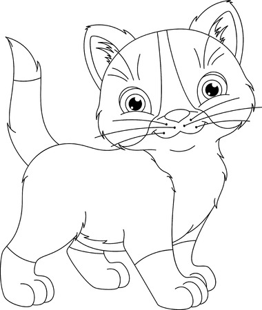 Colorear Gato De Navidad Página Ilustraciones Vectoriales, Clip Art ...