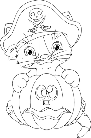 cocked hat: Pirate Kitten Coloring Page