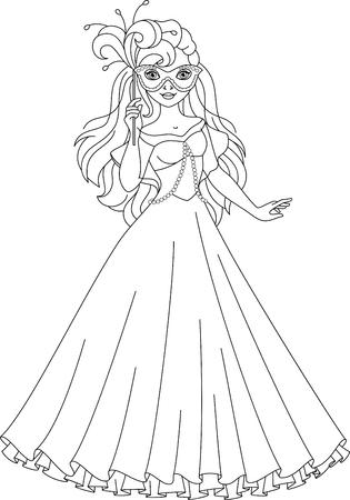 princess dress: Princess dress for masquerade, Coloring Page