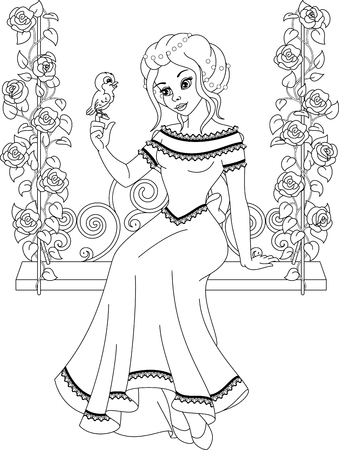Illustration princess on the swing. Coloring Page.