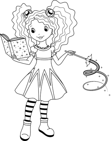 Witch Coloring Page Illustration