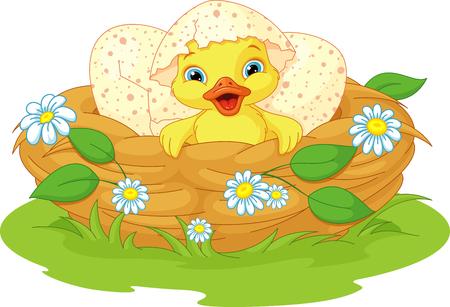 かわいいアヒルの子は巣で孵化