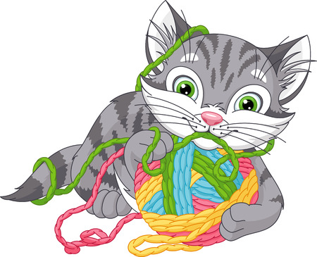 Grey kitten playing with a ball Illustration