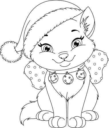 christmas cat coloring pages Christmas Cat Coloring Page Royalty Free Cliparts, Vectors, And  christmas cat coloring pages