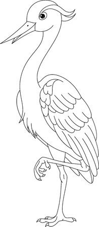 heron: Grey Heron Coloring Page
