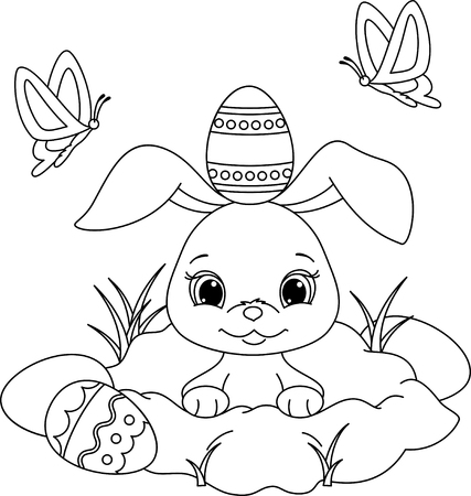 Easter bunny peeking out of a hole. Coloring Page