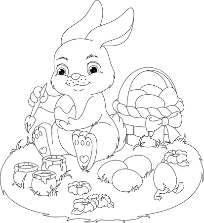 Cesta Con Huevos De Pascua Para Colorear Página Ilustraciones ...