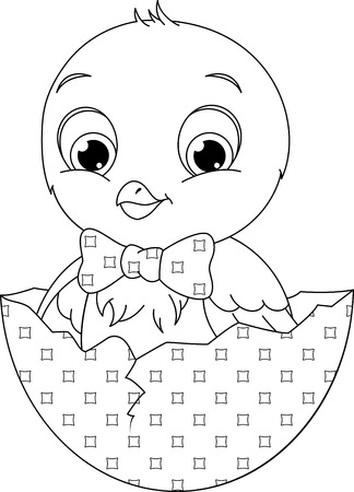 Chicken sitting in an egg Coloring Page Illustration