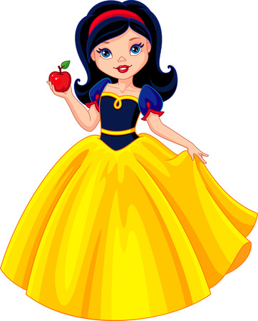 Princess Snow White holds the apple