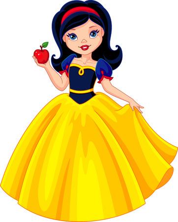Princess Snow White holds the apple